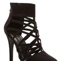Black Faux Nubuck Cut Out Pointed Toe Heels