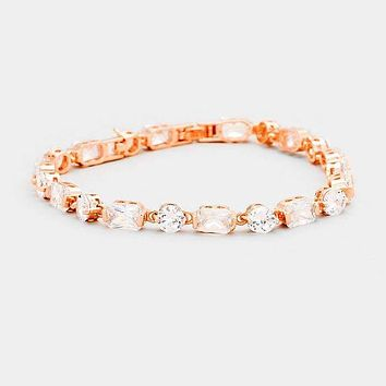 Cubic Zirconia Round Rectangle Link Evening Bracelet