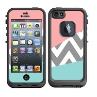 Skins FOR Lifeproof iPhone 5 Case – Chevron Solid mixed pattern pink blue gray white grey - Free Shipping - Lifeproof Case NOT included