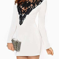 White Contrast Lace Long Sleeve Mini Dress