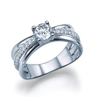 Cameron - Twist Side Stone Engagement Ring in 14k White Gold (1.01 ct t.w)