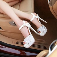 Rhinestone Platform Sandals Women Pumps High Heels Club Wedding Shoes Woman