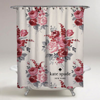New Pink Floral Kate Spade Logo Custom Shower Curtain 60 x 72 Limited Edition