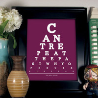 The Great Gatsby Eye Chart, Can't Repeat The Past Why Of Course You Can, 8 x 10 Giclee Print Buy 2 GET 1 FREE