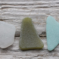 Olive Green Light Blue White Beach Glass Large Sea Glass Pieces