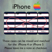 Nautical Infinity Best Friends Forever and Ever iPhone case - Personalized Coral Anchor iPhone 4 or iPhone 5 Case, FOUR Case Set