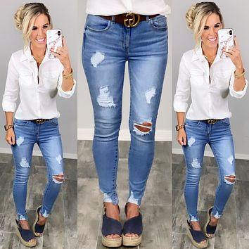 With Certainty Distressed Skinny Jeans