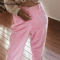 Fashion 2018 winter Autumn pants women Corduroy casual solid color pull pants feet pants Candy colors pants women