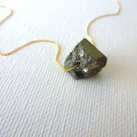 Large Pyrite Nugget and 925 Sterling Silver or 14k Rose Gold Fill Chain Necklace - Gift for Mom; Gift for Her; Unique Natural Jewelry
