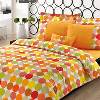 Polka Dot Print Bedding Set in Pumpkin Orange Yellow Green Grey for Twin or Twin XL –4-piece Set of Duvet Cover, Flat Sheet, Sham & Pillow