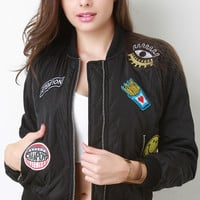 Quilted Orange Lined Patched Bomber Jacket