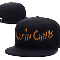 Alice In Chains Band Logo Adjustable Snapback Embroidery Hats Caps - Black/Orange