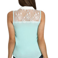 Lace Yoke Woven Shirt | Shop Just Arrived at Wet Seal