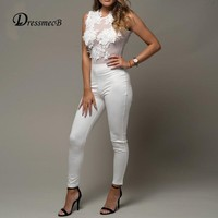 Dressmecb Rompers Womens Jumpsuits Summer High Waist lace Autumn Sexy Jumpsuit Women white black overalls 2018