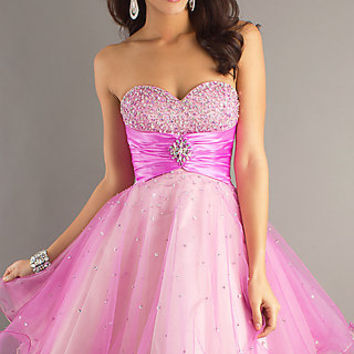 Dave and Johnny Short Strapless Prom Dress 6918