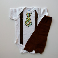 Tie and Suspenders Personalized Baby Boy Onesuit Leg Warmer Gift Set - Can Personalize