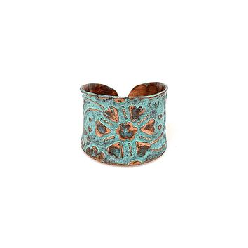 Anju Copper Patina Ring in Turquoise Floral and Vine
