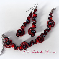 Soutache Jewelry Set,Soutache Bracelet And Earrings, Red Jewelry, Dangle Earrings And Cuff Bracelet Set, Handmade Valentine's Day Gift