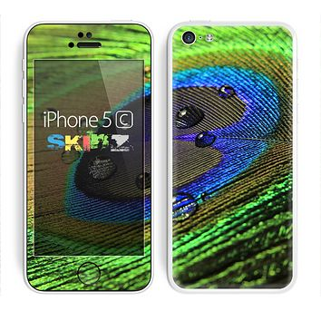 The Watered Neon Peacock Feather Skin for the Apple iPhone 5c