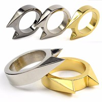 Mini Stainless Steel Survival Ring Self Defense Weapons Broken Device Rescue Gear Portable Survival EDC Tool key chain