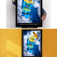 """Giant Poster: LEGO® Skydiver Minifigure Art 24x36"""" Poster"""