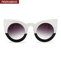 Peekaboo 2017 fashion sexy round cat eye sunglasses gradient white black big ladies sun glasses for women cat eye luxury oculos