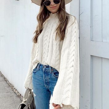 White turtle neck sweater women Flare sleeve tassel female knitted pullovers jumper ladies sweaters