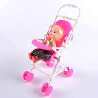 Hot 1PCS pink Assembly Baby Stroller Trolley Nursery Furniture Toys for Barbie Doll Christmas birthday gift Free Shipping