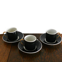 Vintage Demitasse Coffee Cups and Saucers Limoges Fabrique Royale Black With White Trim and Gold Handles - Set of 3  Fabrique Royale Limoges