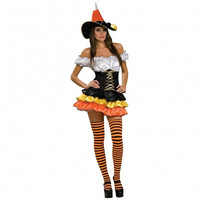Colorful Strapless Puffy Skirt Halloween Witch Costume with Hat