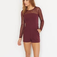 Romper With Mesh Sleeves