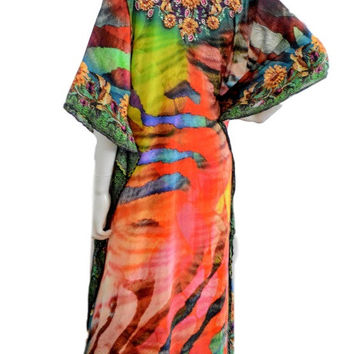 RAINBOW KAFTAN, kaftan dress, silk caftan, boho maxi kaftan, caftan, MULTICOLOR dress