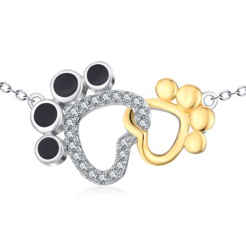 Paw Pendant 925 Silver Necklace