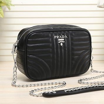 PRADA Women Fashion Leather Chain Crossbody Satchel Shoulder Bag