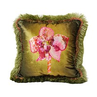 Elizabeth Hayt Olive Orchid Pillow