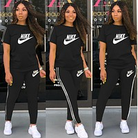 NIKE Summer Hot Sale Women Print Shorts Sleeve Top Pants Trousers Set Two-Piece