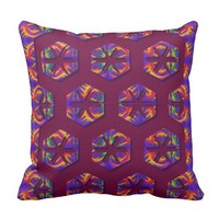 Tribal Fiery Honeycomb Throw Pillow