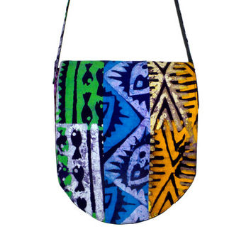 African Messenger Bag - Batik - Patchwork - Support the Deaf in Ghana