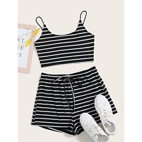 SHEIN Striped Crop Cami Top & Tie Waist Shorts Set