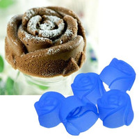 10X Nice Silicone Rose Muffin Cookie Cup Cake Baking Mold Chocolate Jelly Maker Mould SHY (Size: One Size)