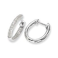 14k White Gold In & Out Dazzling Diamond Hinged Oval Hoop Earrings