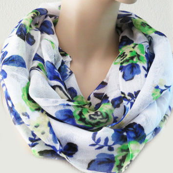 Floral Blue Green Infinity Scarf Fashion Accessories Soft Stylish Gift