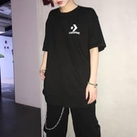 """""""Converse"""" Unisex Casual Classic Five-pointed Star Logo Print Couple Short Sleeve T-shirt Top Tee"""
