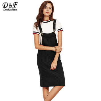 Dotfashion Black Ribbed With Pocket Slip Overall Dress Autumn Winter Women Sleeveless Basic Knee Length Dress