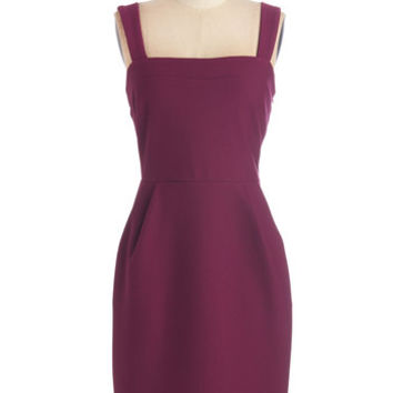 ModCloth Mid-length Tank top (2 thick straps) Sheath Let's Gather Together Dress in Berry