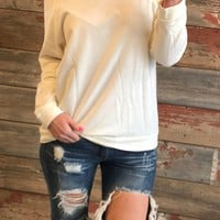 Raw Cut Terry Sweatshirt: Ivory