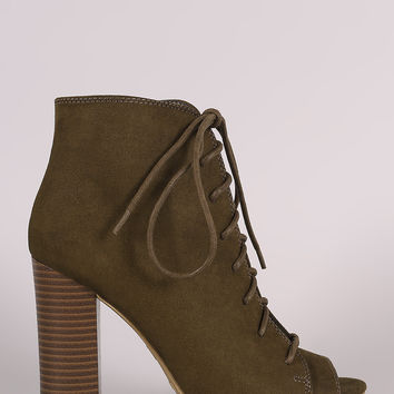Bamboo Suede Peep Toe Lace-Up Chunky Heeled Booties
