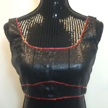 Partywear Sequined Sleeveless Saree Blouse - Black