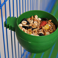New Parrot Bird Hamster Feed Bowl Cage Hanging Drinking Food Feeder Cup Bowl