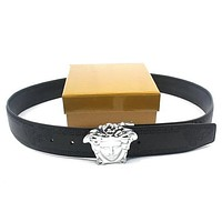 Perfect VERSACE Men Woman Fashion Smooth Buckle Belt Leather Belt
